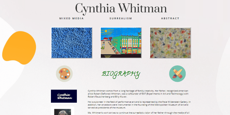 Cynthia Whitman Website Screenshot