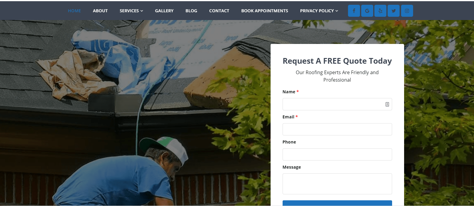 Morgan Family Roofing Website Screenshot